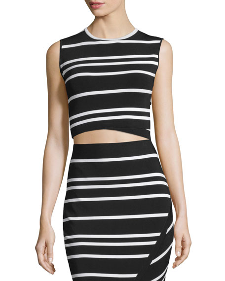 Ted Baker London Onissa Sleeveless Bias-Striped Crop Top,
