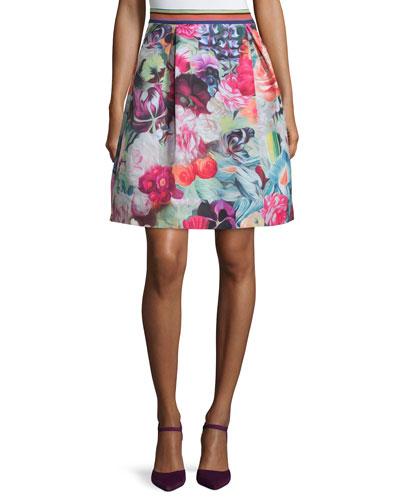 Kaideen Floral-Swirl A-Line Skirt, Fuchsia