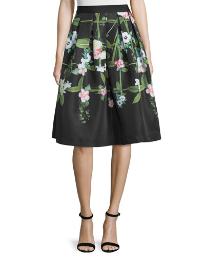 Emmalin Secret Trellis Full Skirt, Black