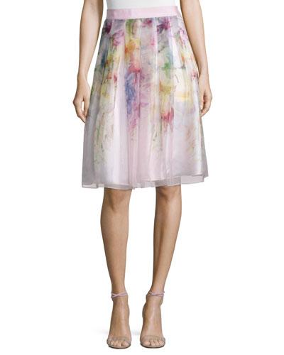 Glenis Hanging Gardens Print Skirt, Baby Pink