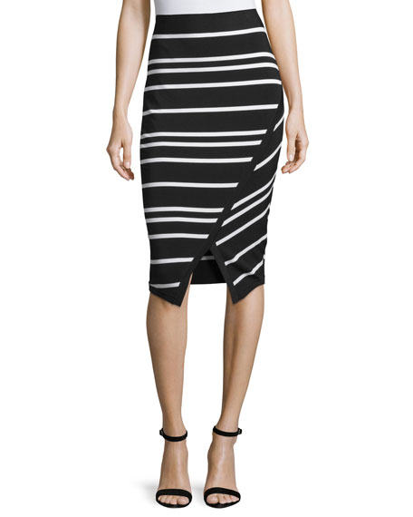 Petulia High-Waist Striped Midi Skirt, Black
