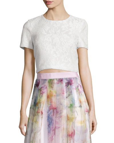 Maire Short-Sleeve Lace Crop Top, White
