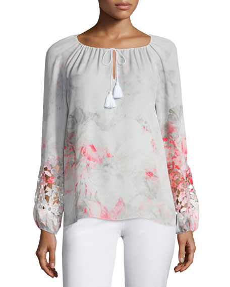 Elie Tahari Mariella Long-Sleeve Lace-Inset Blouse, Neon Orchid