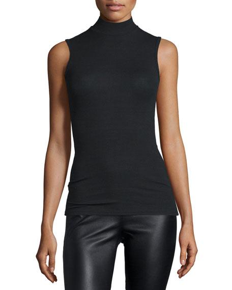 ATM Sleeveless Mock-Neck Stretch Top, Black