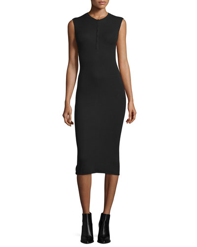 ATM Sleeveless Henley Midi Dress, Black