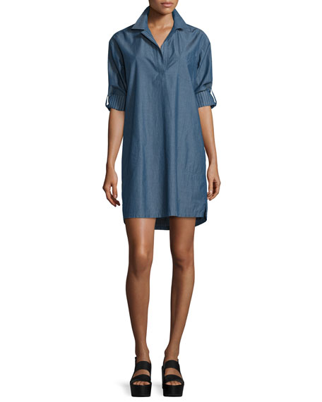 ATM Long-Sleeve Chambray Pullover Shirtdress, Indigo