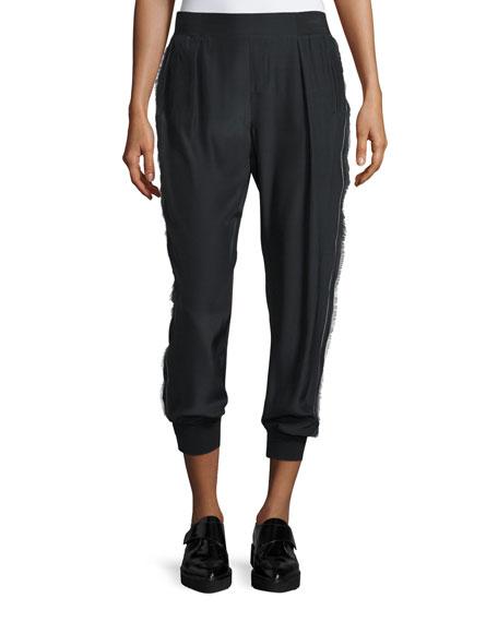 ATM Cropped Silk Fringe-Trim Pants, Black