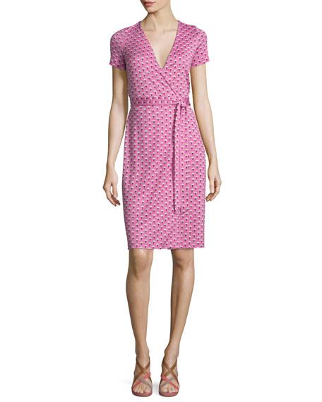Diane von Furstenberg New Julian Two Peace Palm Wrap Dress- Pink