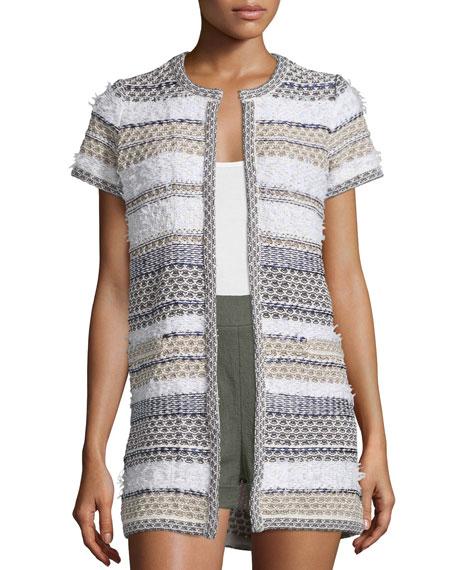 Diane von Furstenberg Arryn Short-Sleeve Multipattern Sweater, ...