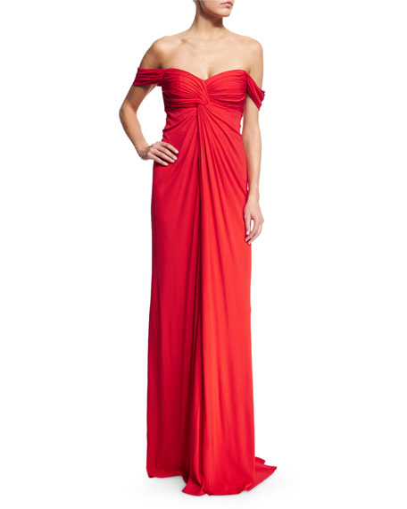 David Meister Off-the-Shoulder Sweetheart Flowy Gown