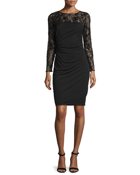 David MeisterLong-Sleeve Lace Bodice Ruched Cocktail Dress