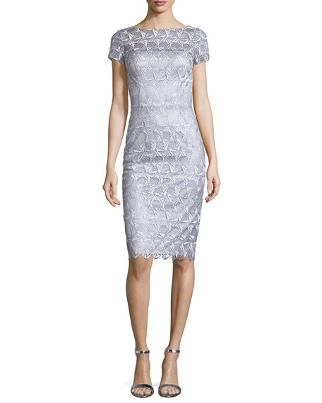 David Meister Short-Sleeve Lace Sheath Cocktail Dress