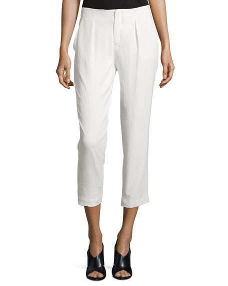 Haute Hippie Pleated-Front Cropped Pants, Swan
