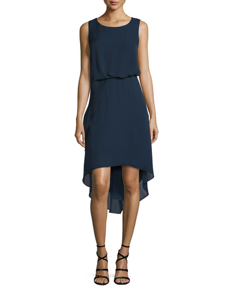 Kobi Halperin Hailey Sleeveless Tucked-Waist High-Low Dress
