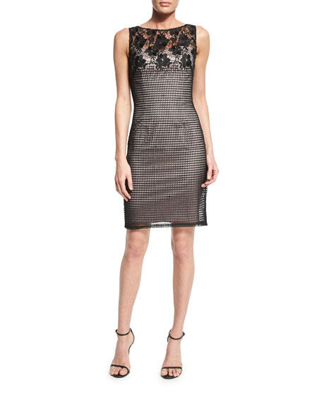 Aidan Mattox Sleeveless Lace Combo Sheath Dress
