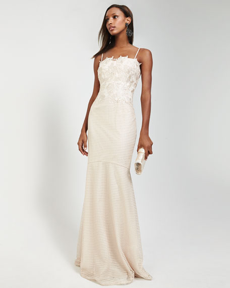 Spaghetti Lace-Top Mermaid Gown