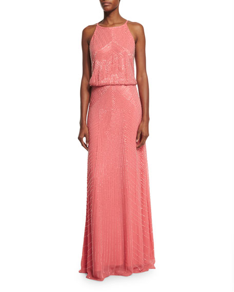 Aidan Mattox Jewel-Neck Beaded Column Gown