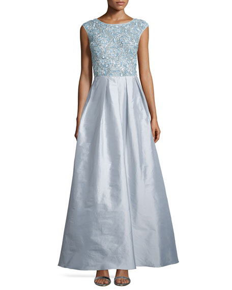 Aidan Mattox Cap-Sleeve Sequined-Bodice Combo Gown