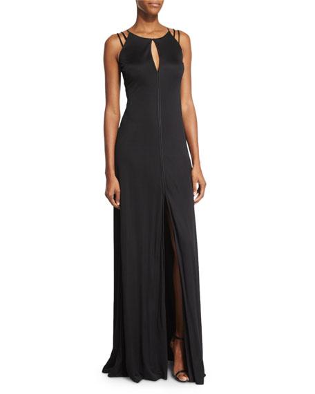 Aidan Mattox Sleeveless A-line Jersey Dress