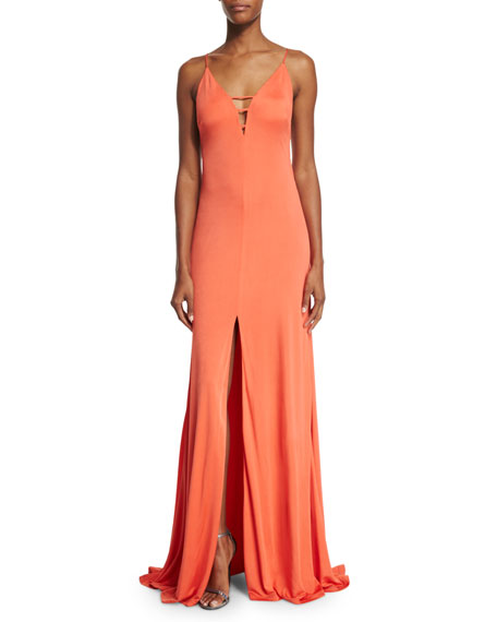 Aidan Mattox Sleeveless Front-Slit Column Gown