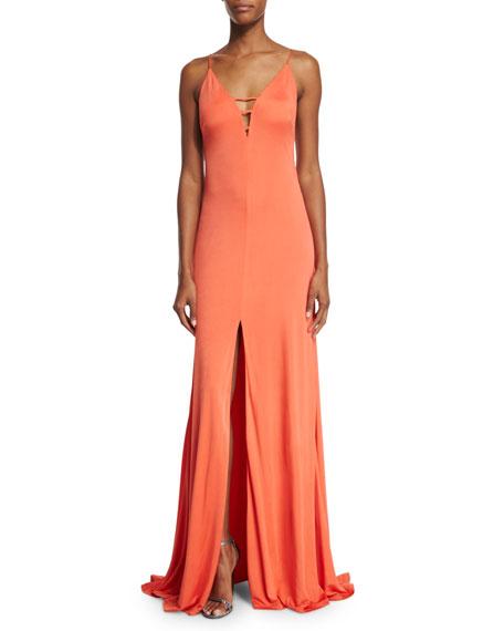 Aidan Mattox Sleeveless Front-Slit Column Gown