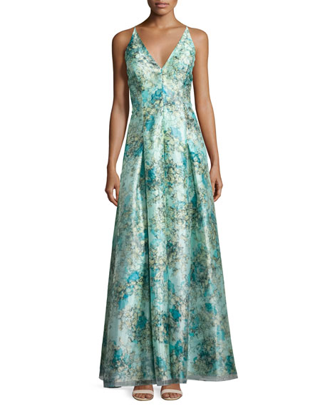 Aidan Mattox Sleeveless Floral Organza Ball Gown