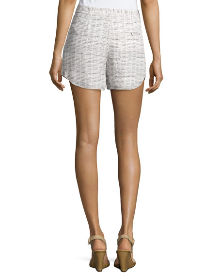 Pleated-Front Printed Shorts, Swan/Black