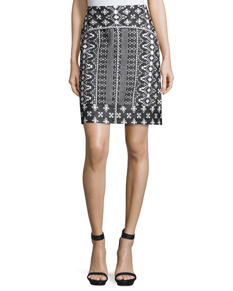 Kobi Halperin Patrice Embroidered-Print Pencil Skirt