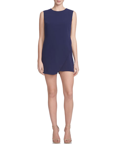 Cynthia Steffe Sleeveless Asymmetric-Front Romper, Evening Navy