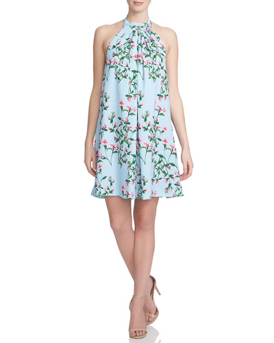 Halter-Neck Floral-Print Trapeze Dress, Cool Blue