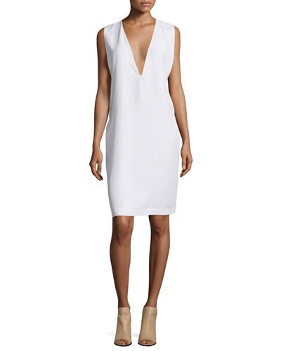 Prudence Plunging-V Shift Dress, Bright White