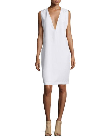 Equipment Prudence Plunging-V Shift Dress, Bright White