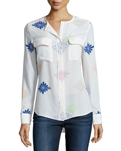 Lynn Floral-Print Long-Sleeve Top, Bright White