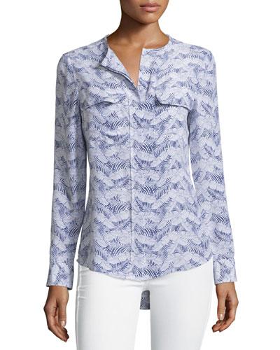 Lynn Printed Long-Sleeve Top, Bright White