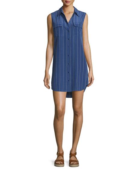 Equipment Slim Signature Sleeveless Dress, Ultramarine/Bright White