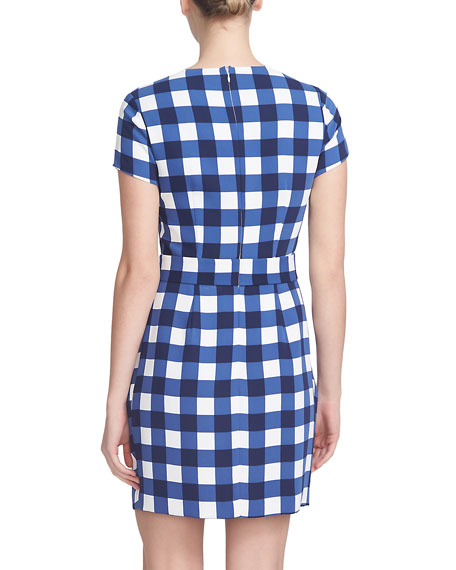 Short-Sleeve Gingham Belted Dress, Evening Navy