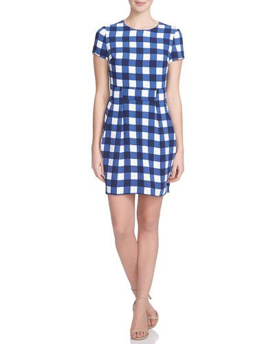 Short-Sleeve Gingham Belted Dress, Evening Navy