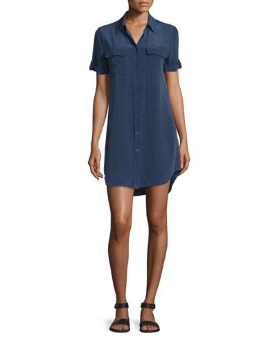 Slim Signature Short-Sleeve Shirtdress, Peacoat