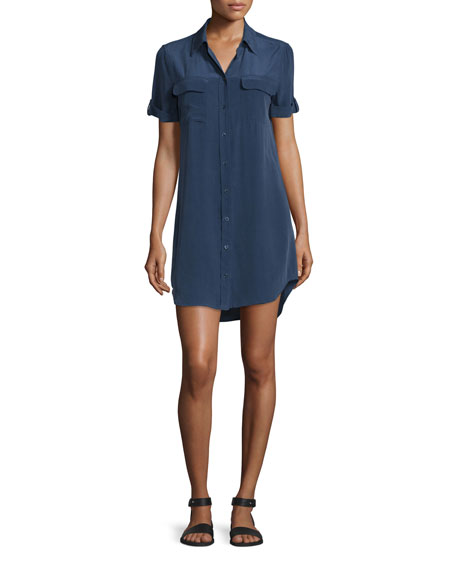 Equipment Slim Signature Short-Sleeve Shirtdress, Peacoat