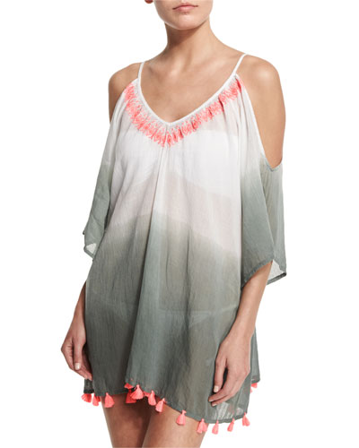 Cold-Shoulder Dip-Dye Tunic Coverup, Ziz