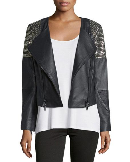 Haute Hippie Embellished Leather Moto Jacket, Black/Antique