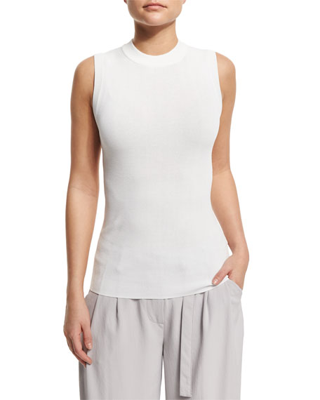 DKNY Sleeveless Knit Pullover Top, White