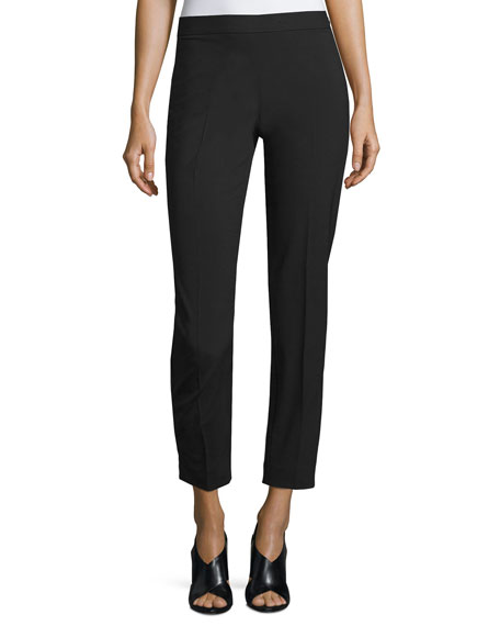 DKNY Wool-Blend Side-Zip Pants, Black