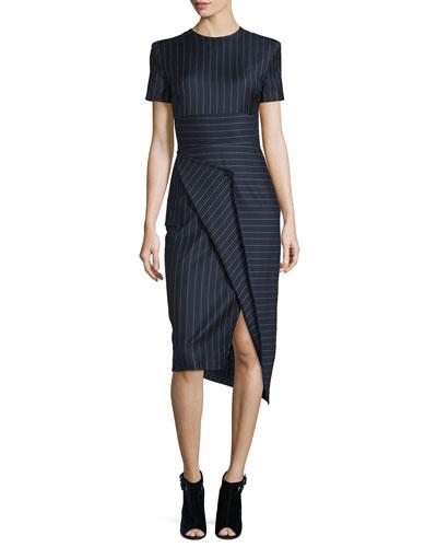 Short-Sleeve Pinstripe Midi Dress, Classic Navy