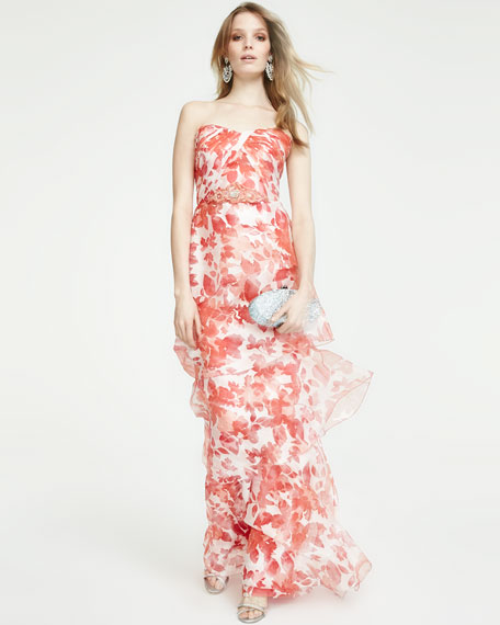 Strapless Floral Organza Gown