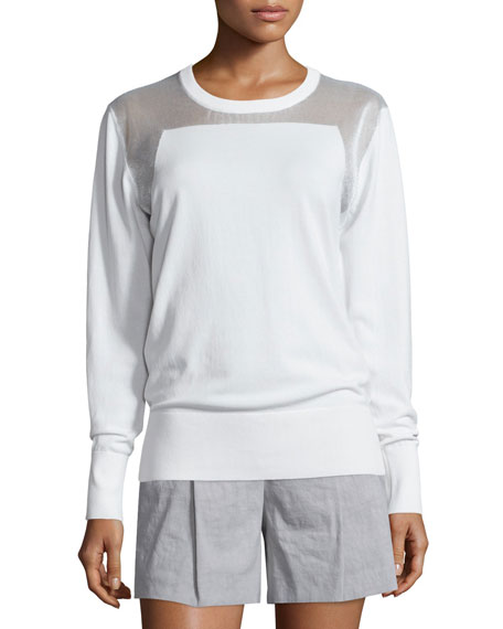 DKNY Sheer-Trim Pullover Sweatshirt, White