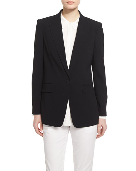 DKNY Long-Sleeve Crepe Envelope-Jacket, Black