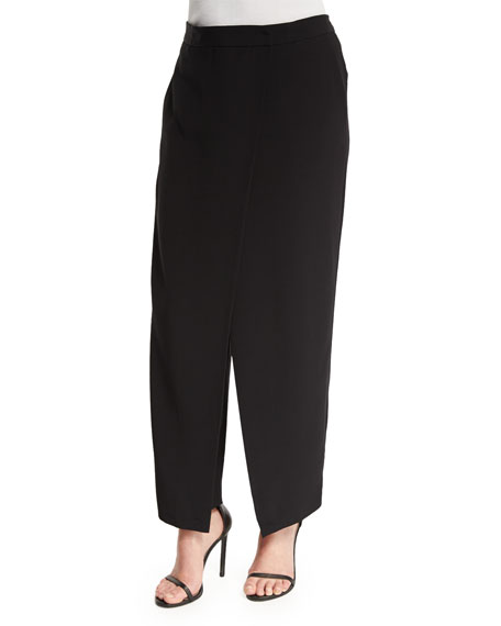 DKNY Crepe Wrap-Front Pants, Black