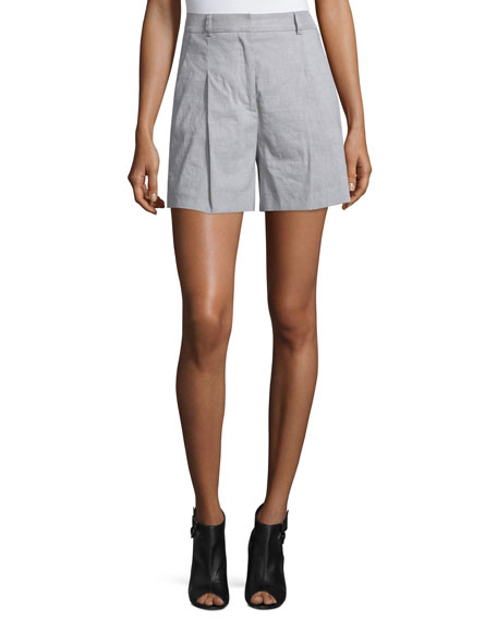 High-Rise Linen-Blend Shorts, Gray