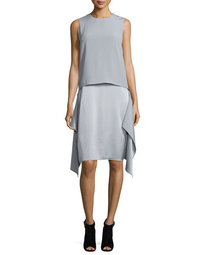 Sleeveless Draped Popover Dress, Cement